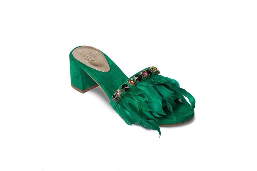 Sandali gioiello verde smeraldo Emanuela Caruso Capri