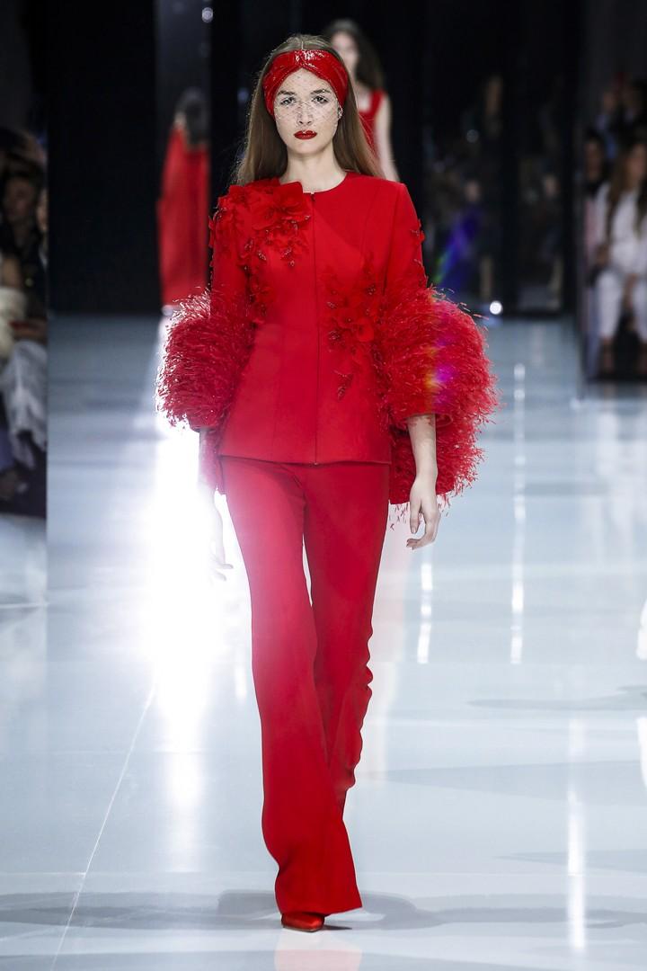 Tailleur rosso da cerimonia Ralph and Russo Couture