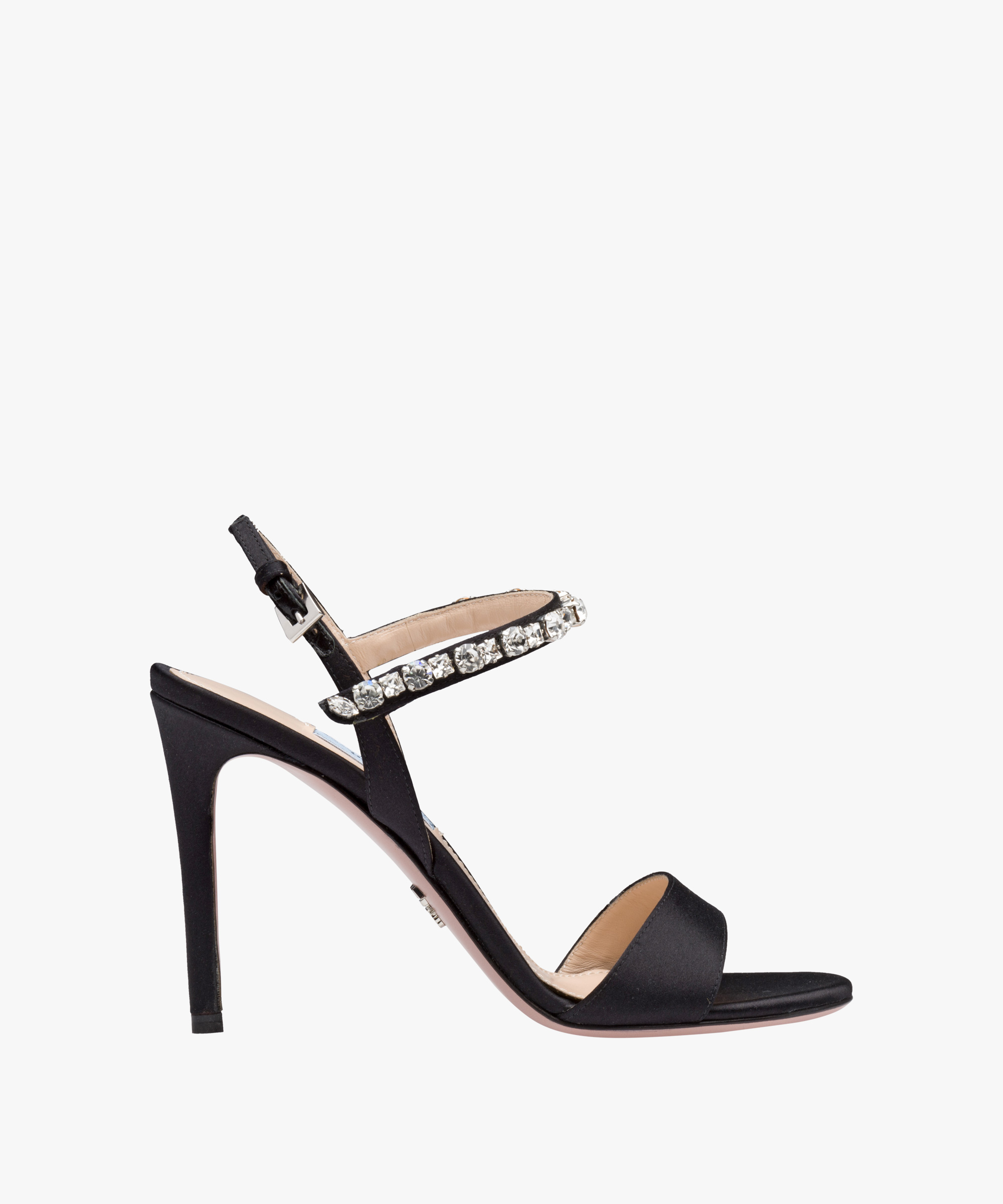 Sandali gioiello neri in raso con cristalli Prada estate 2018