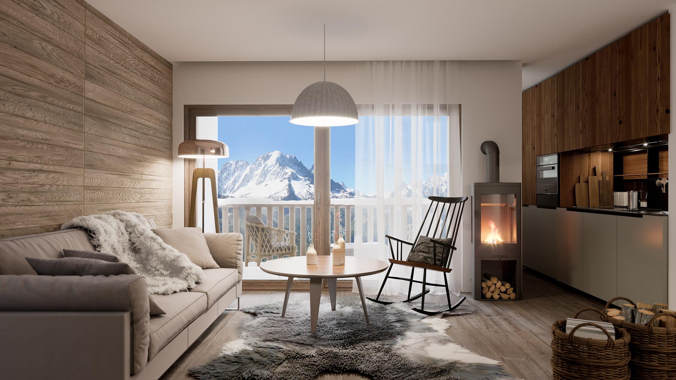 camera con vista monte bianco