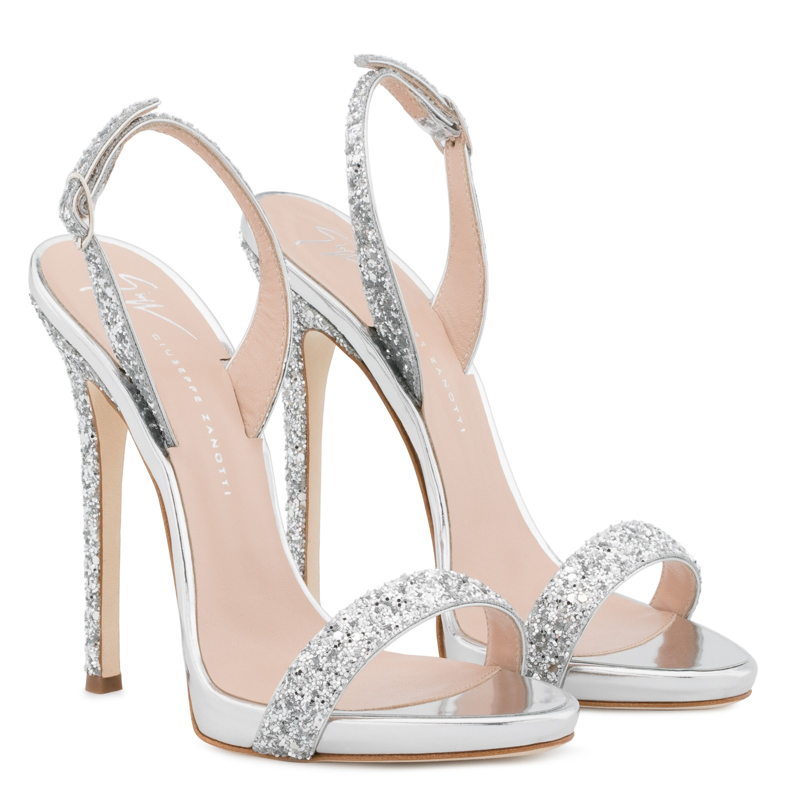 scarpe da cerimonia estate 2018 Sandali gioiello argento con tacco e plateau Giuseppe Zanotti