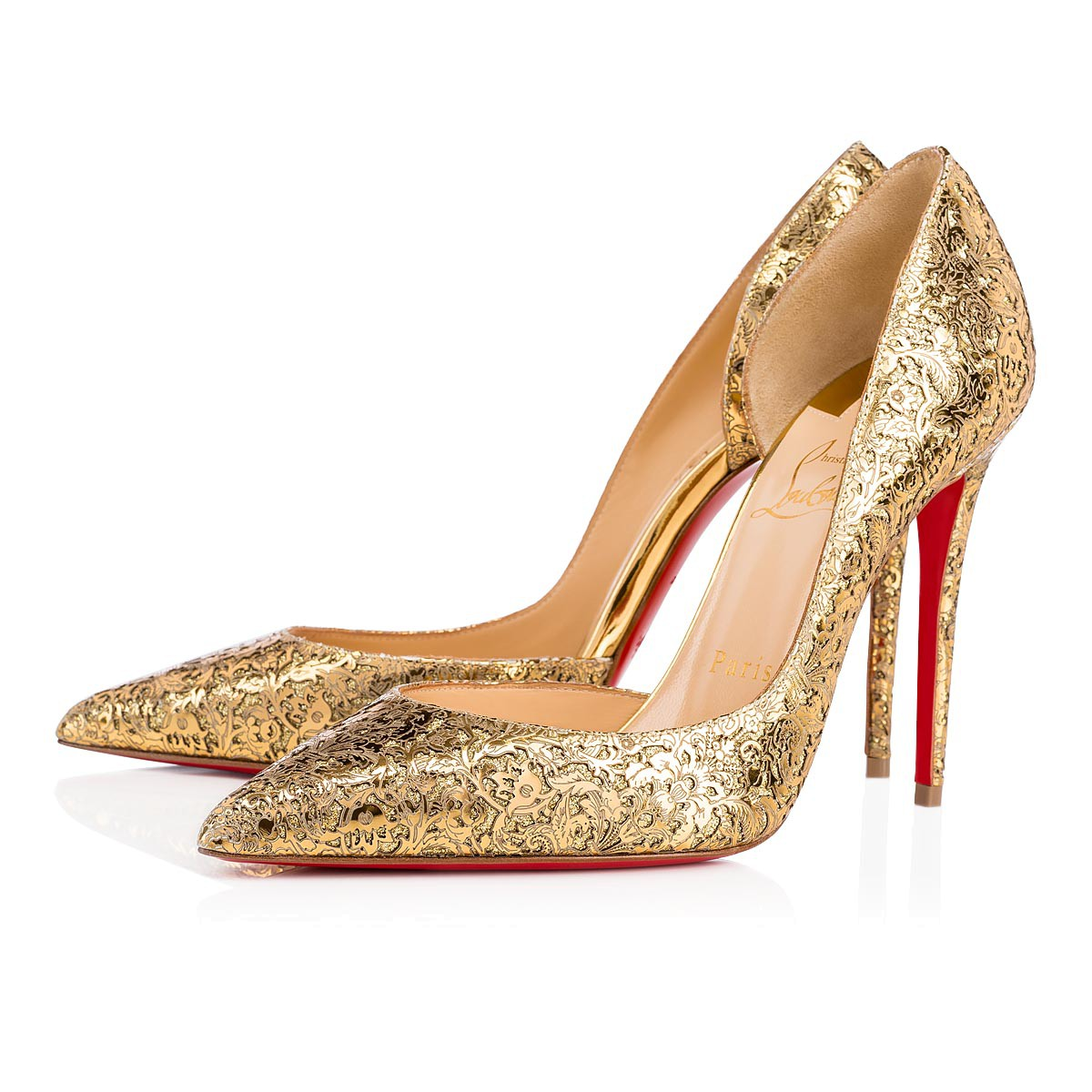 c7f18413c0660 Scarpe con tacco eleganti color oro Christian Louboutin a 745 euro