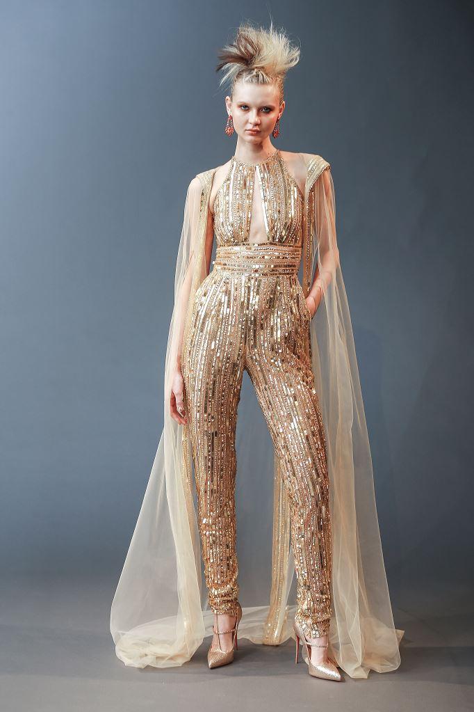 Abito da sposa oro con pantaloni Naeem Khan collezione 2019