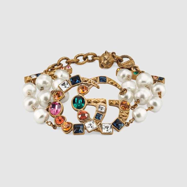 Bracciale con perle e cristalli Gucci autunno inverno 2018 2019