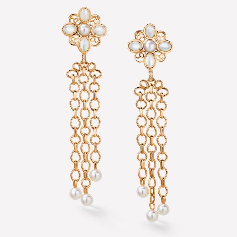 Orecchini Chanel in oro 18 carati con perle e diamanti 2018 2019