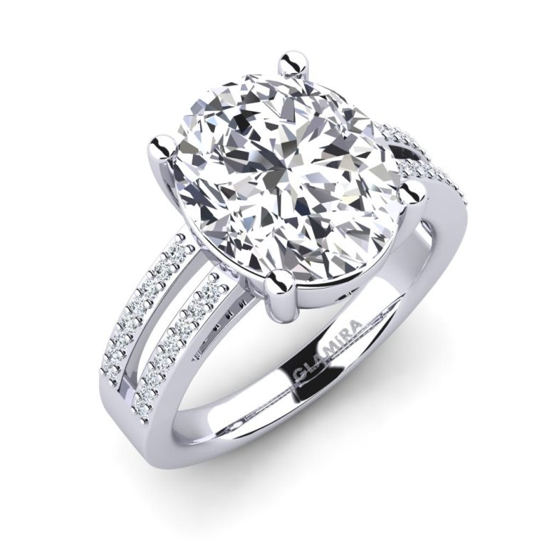 Anello di fidanzamento in oro bianco con diamanti e Swarovski Glamira a 82765 euro
