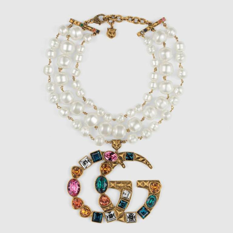 Collana girocollo Gucci con perle e cristalli 2018 2019