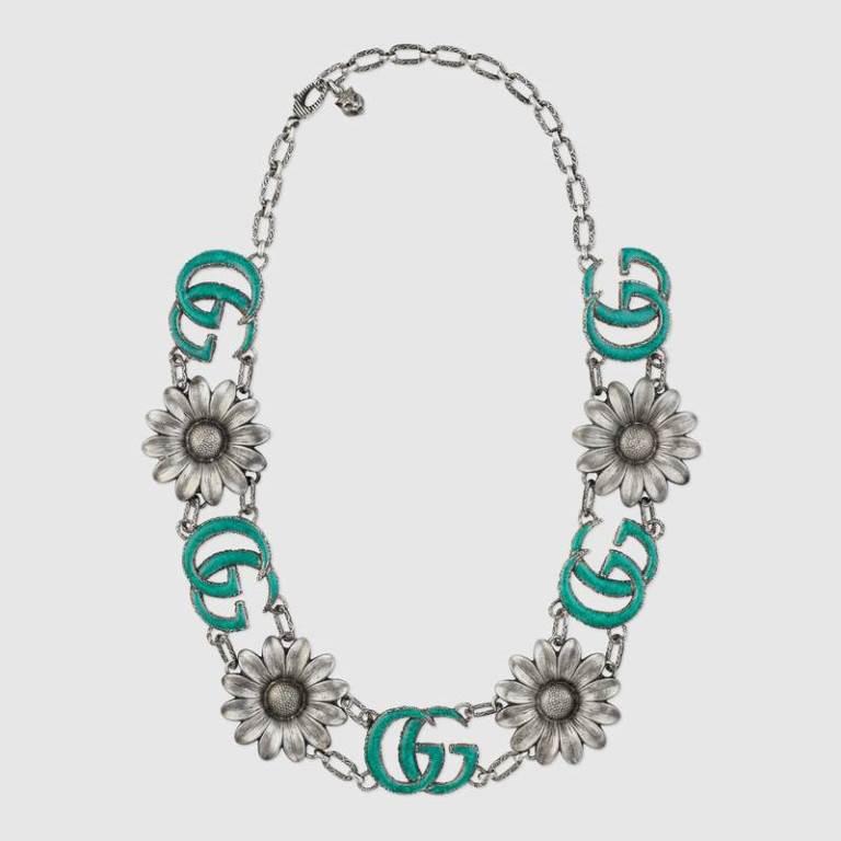 Collana in argento Gucci con doppia G smaltata 2018 2019