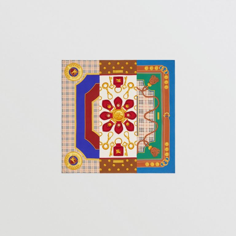 Foulard Burberry in seta con motivo patchwork inverno 2019