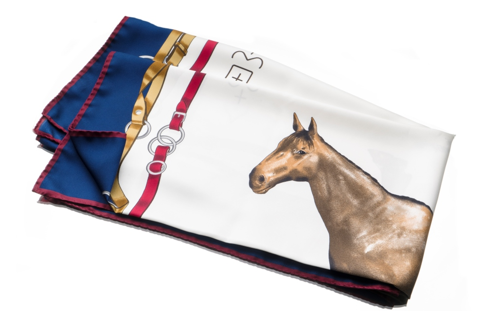 Foulard uomo Maison Cilento 1780 con stampa cavalli