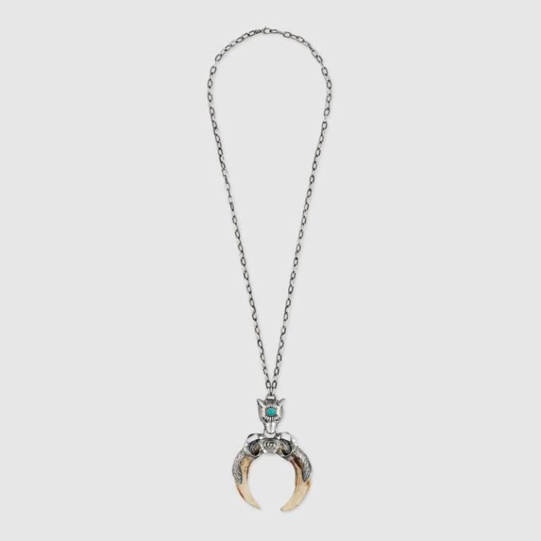Gioielli uomo in argento Gucci, collana con pendente