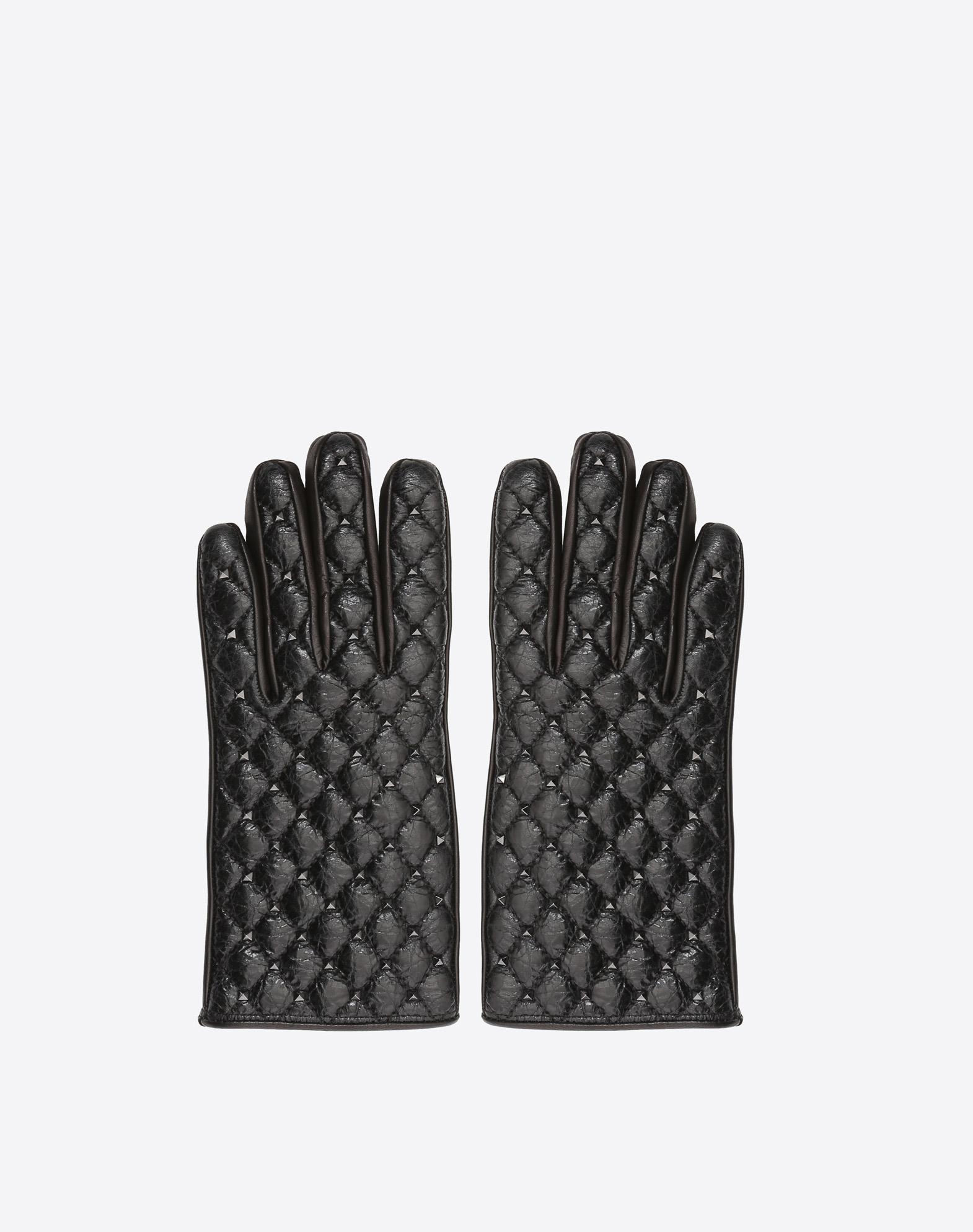 Guanti invernali in pelle nera con borchie Valentino