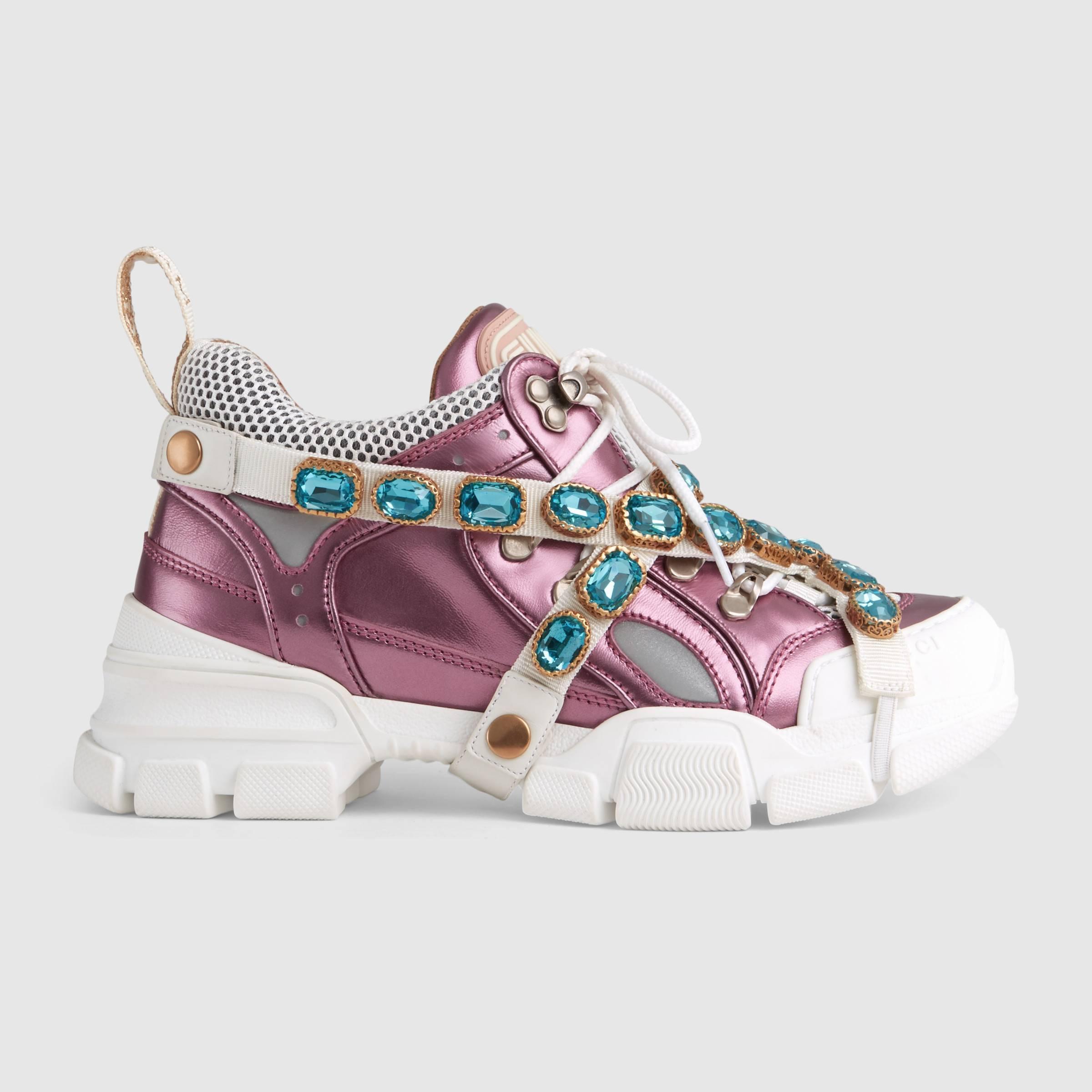 Scarpe da ginnastica Gucci con cristalli staccabili a 1200 euro autunno inverno 2018 2019