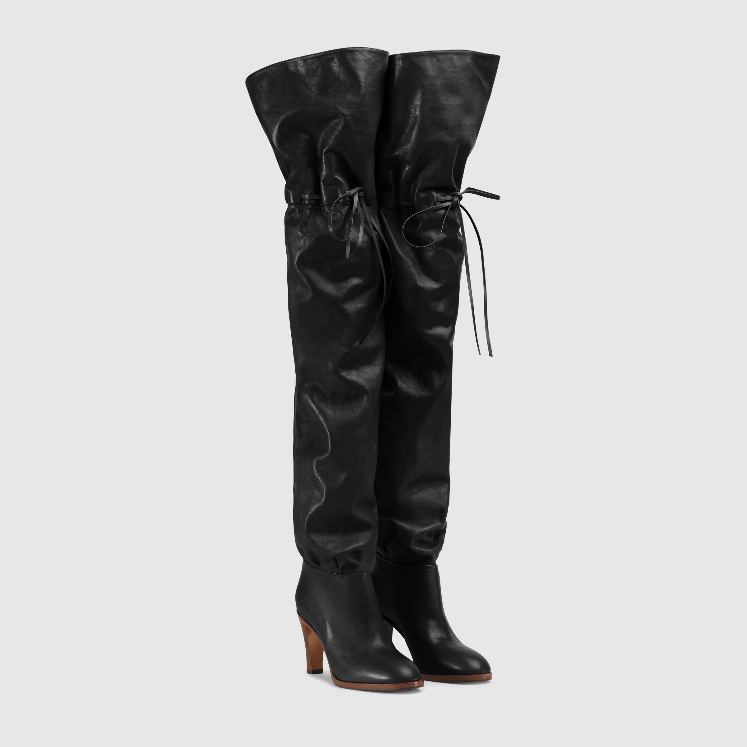 Stivali cuissard sopra il ginocchio Gucci a 2850 euro autunno inverno 2018 2019