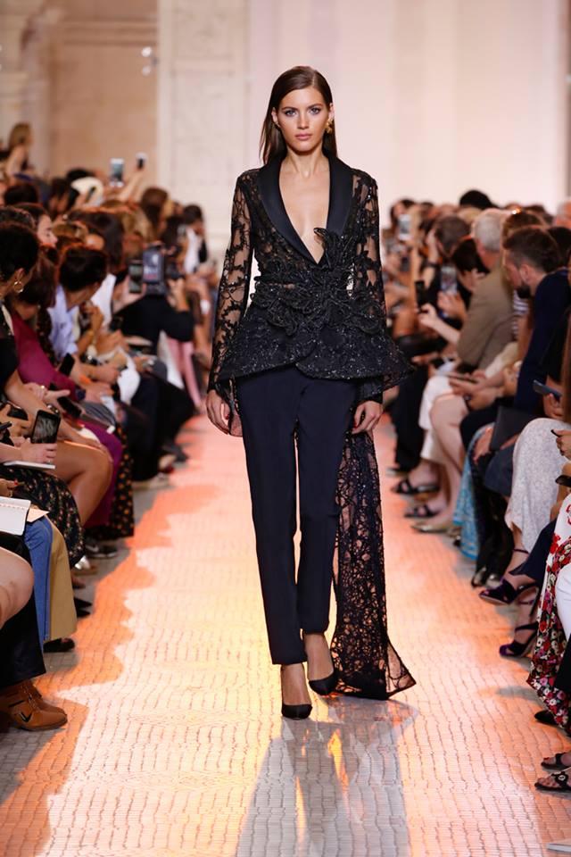 Vestito da cerimonia con pantaloni Elie Saab Haute Couture natale 2018