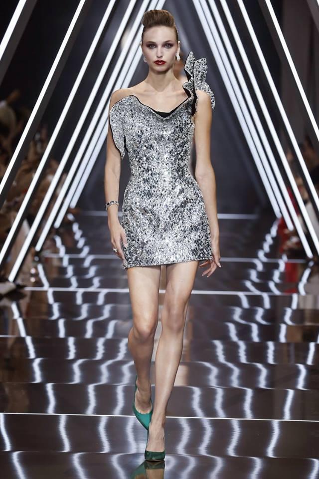 Vestito elegante corto Ralph and Russo Haute Couture natale 2018