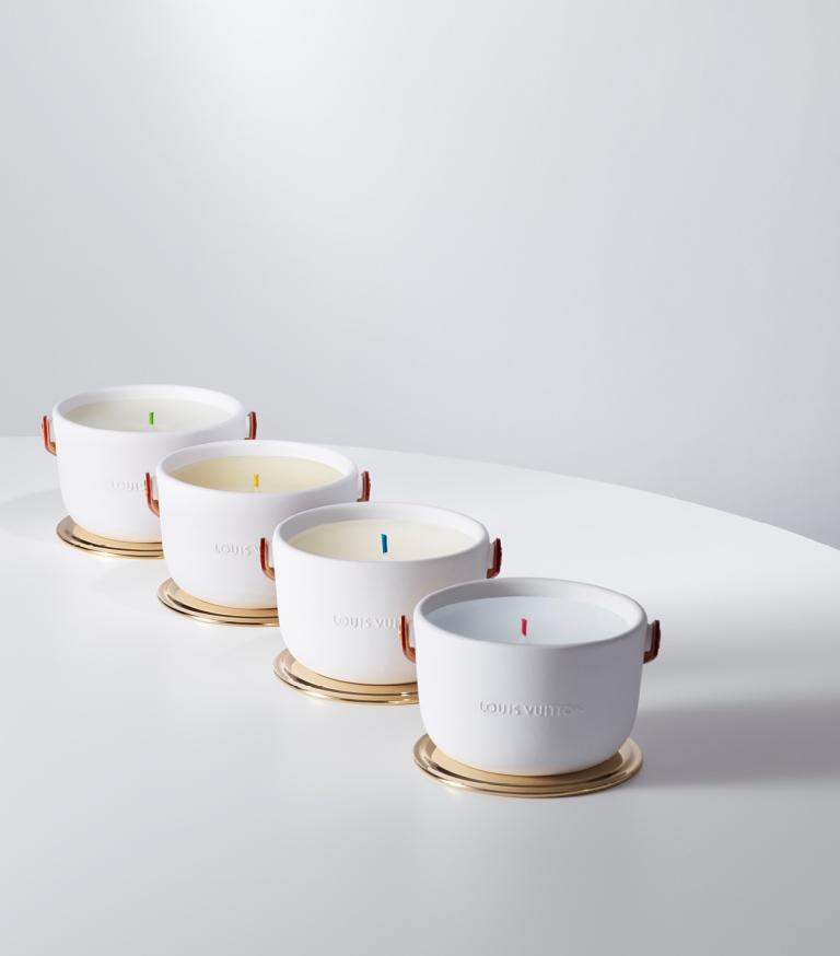 Candele profumate Louis Vuitton L'Air du Jardin, Île Blanche, Feuilles d'Or, Dehors Il Neige