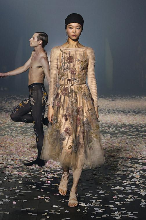 Vestito elegante in tulle a fiori Dior