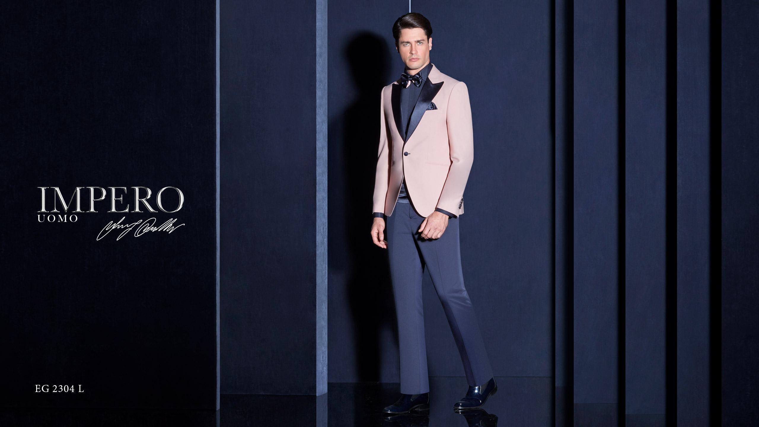 Abito da cerimonia uomo giovanile con giacca rosa Impero Couture
