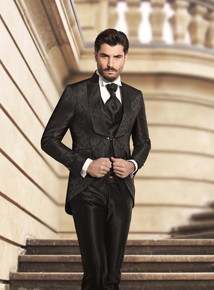 Abito smoking nero con giacca damascata Rocchini