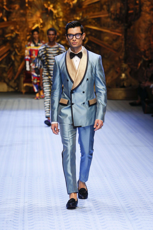 Abito uomo azzurro e oro Dolce & Gabbana