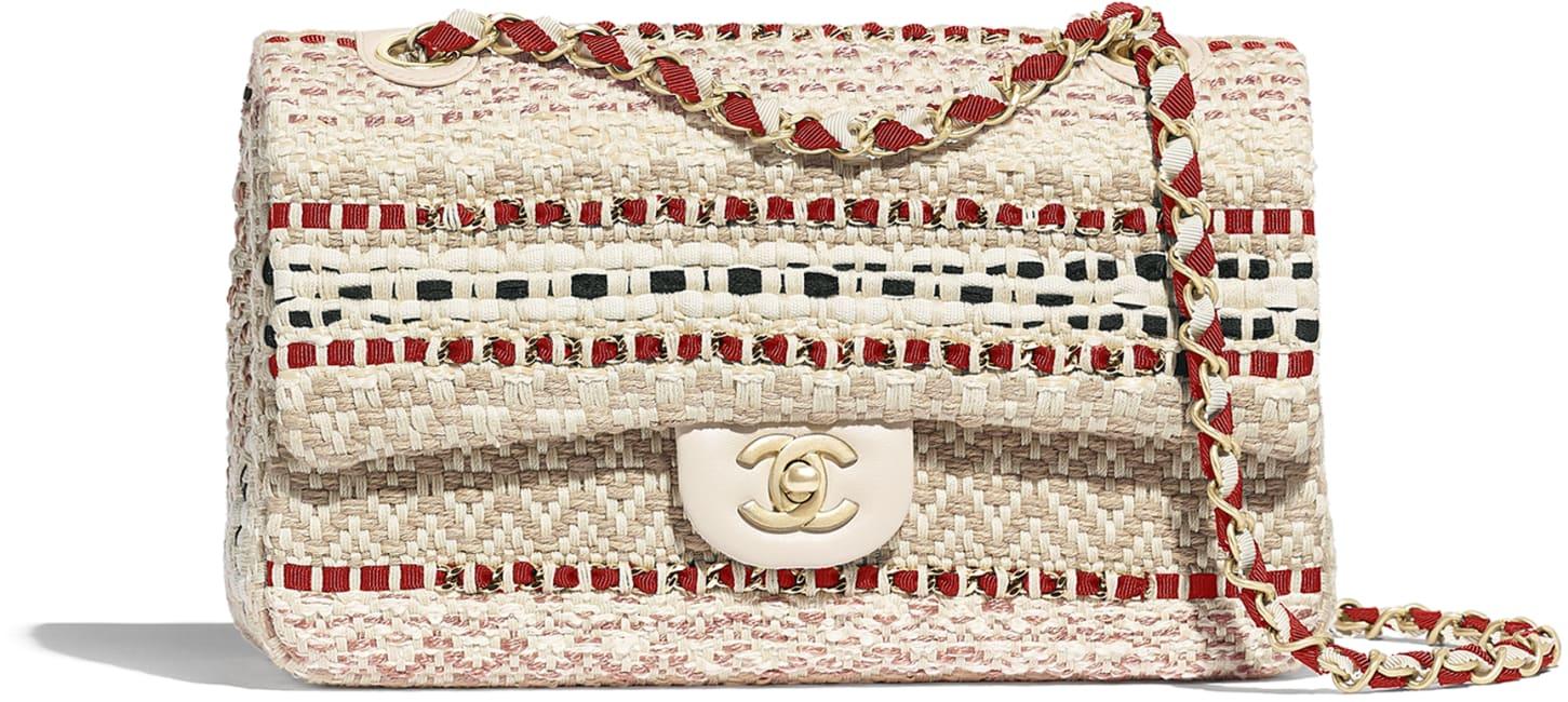 Borsa Chanel piccola in rafia, cotone e pelle
