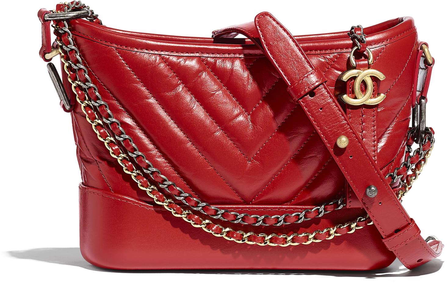 Borsa a spalla Gabrielle de Chanel rossa in pelle invecchiata