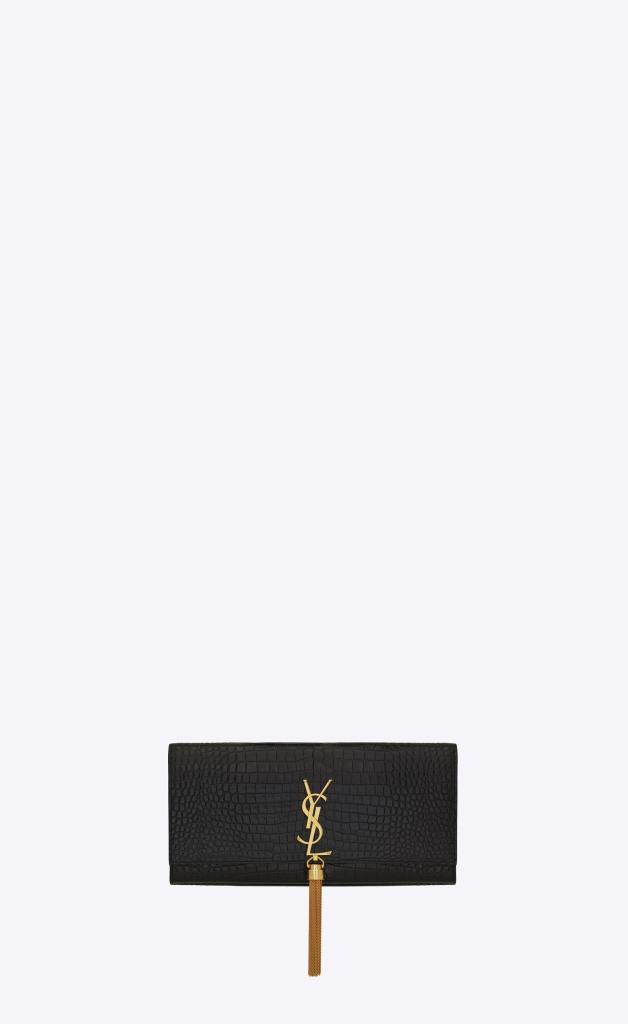 Borsa da cerimonia nera in coccodrillo Saint Laurent