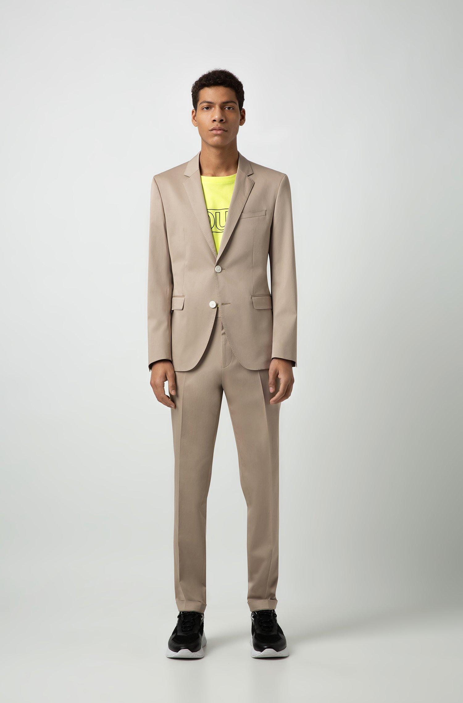 Completo beige da uomo Boss extra slim fit in cotone elasticizzato con un tocco di satin