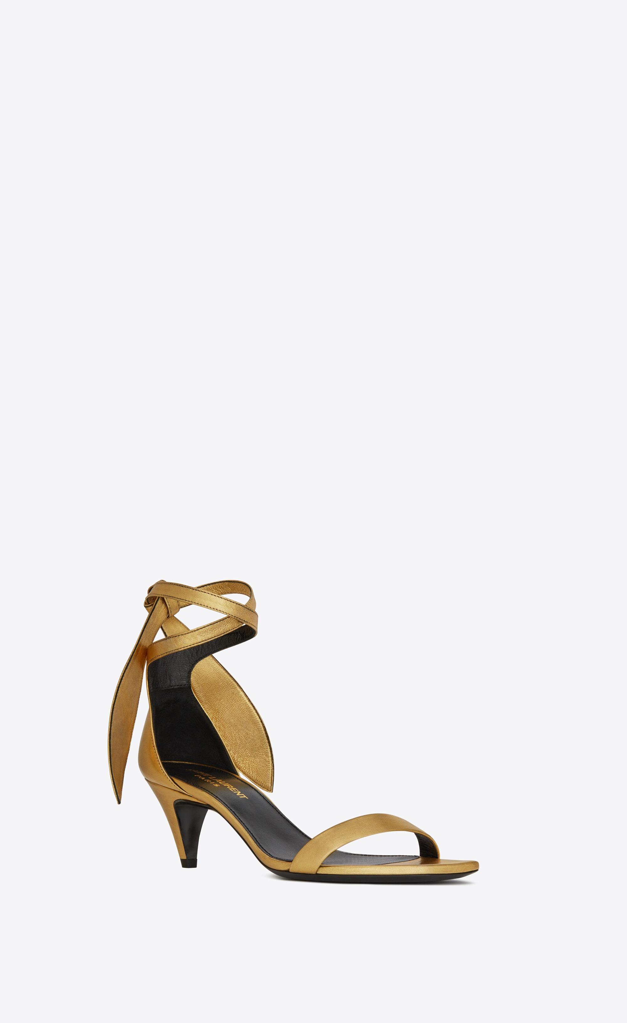Sandali oro con tacco comodo Saint Laurent