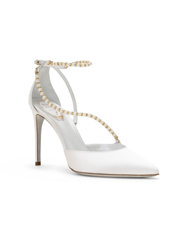 Scarpe a punta in raso con perle Renè Caovilla a 755 euro