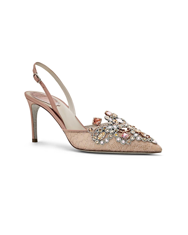 Scarpe eleganti in pizzo e pelle con tacco Renè Caovilla a 970 euro