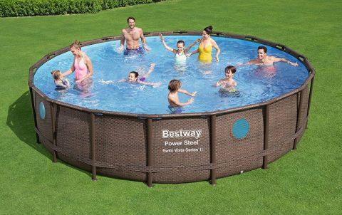 piscina rotonda con oblò fuori vaso
