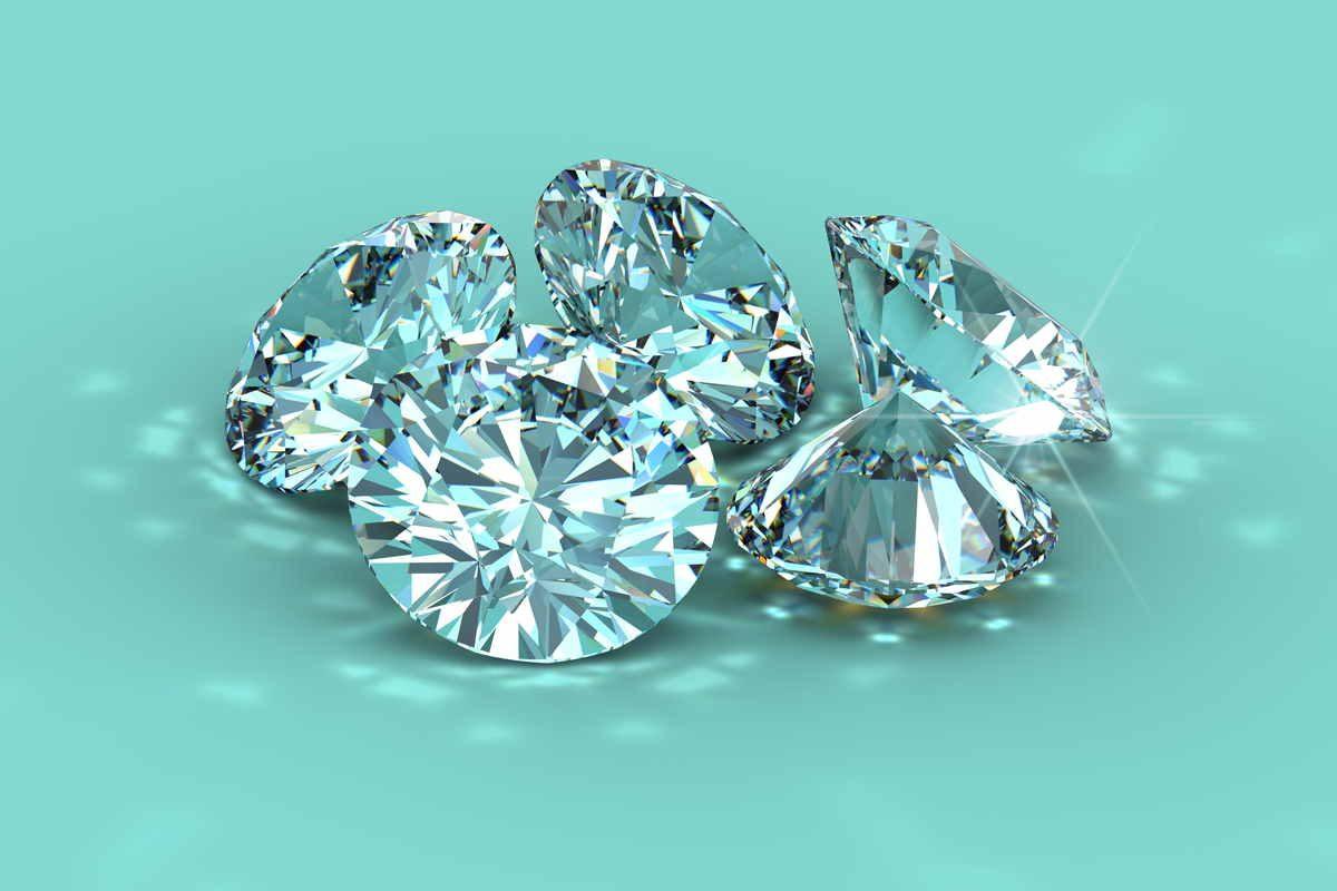 Diamanti su sfondo blu tiffany